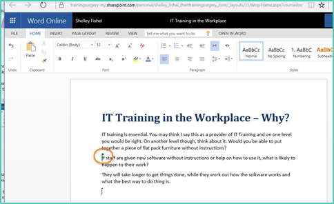 Co-authoring in Office 365 a Microsoft Word example