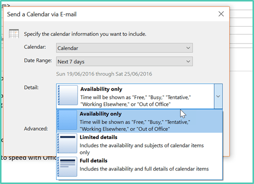 How to insert a copy of your calendar into an email