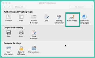 Autocorrect preferences Word Mac