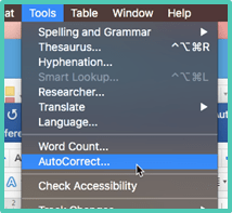 Tools Autocorrect Word Mac