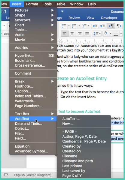 AutoText Word 2016 Mac