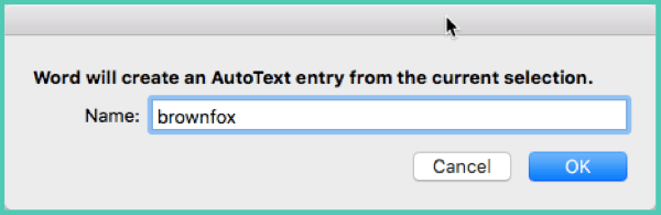 auto text Word 2016 mac