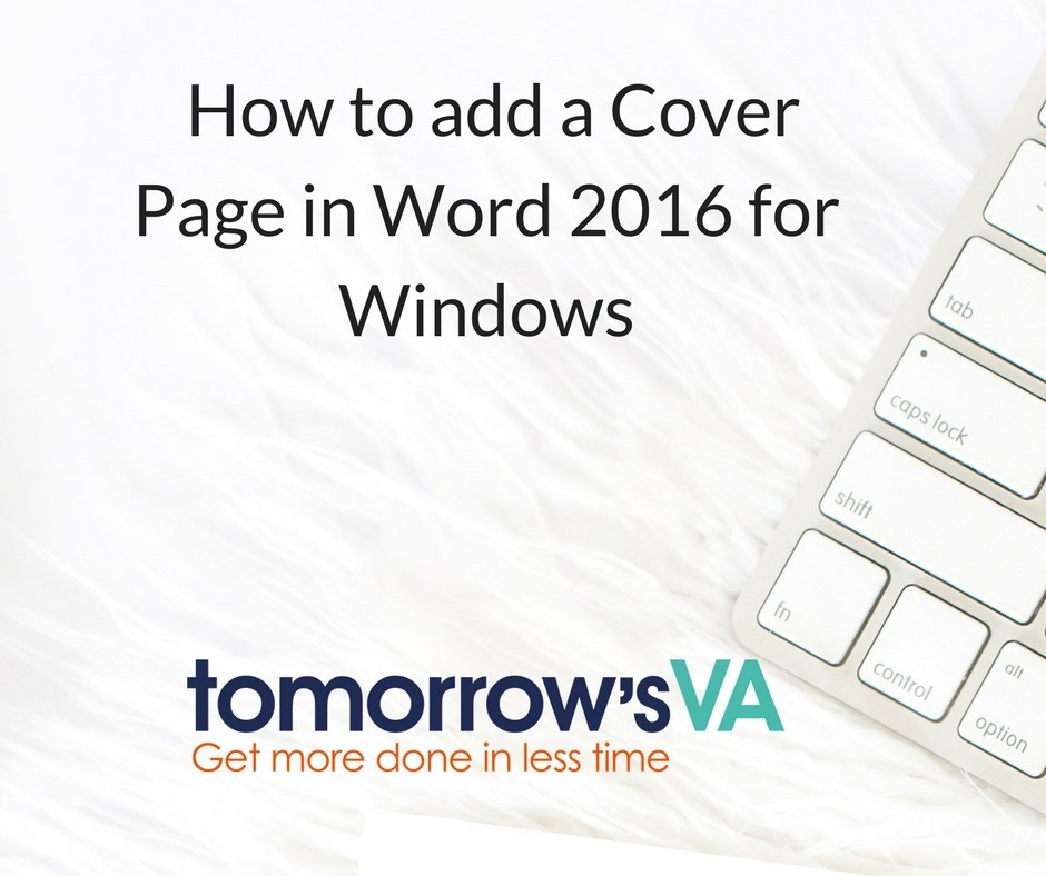 Cover Page Word 2016 Windows