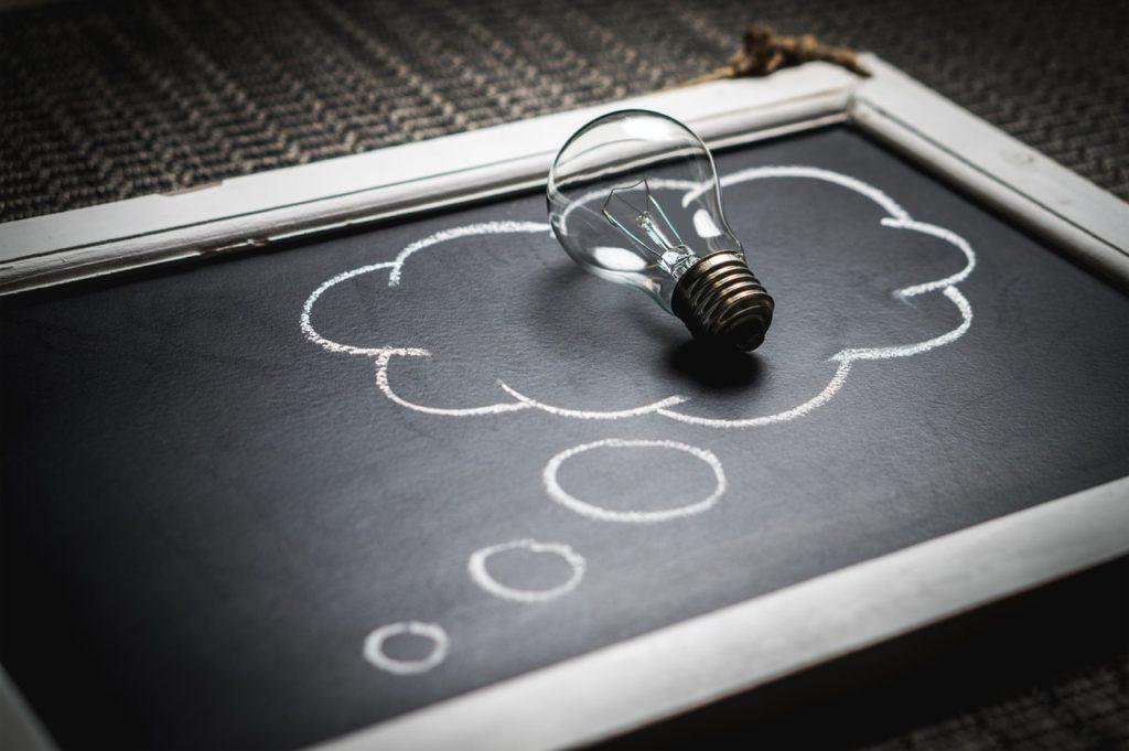 Idea bubble on blackboard