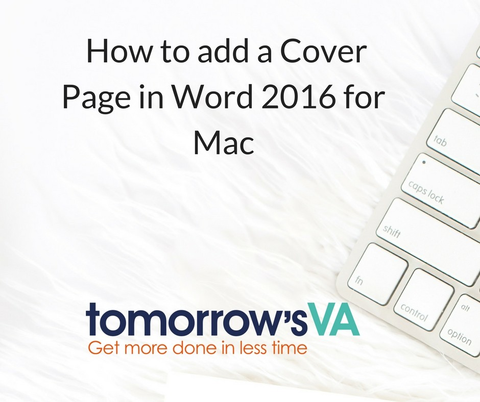 How to add a cover page to Word 2016 for Mac