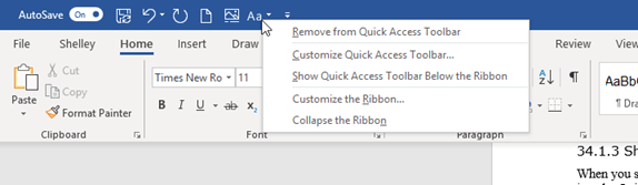 remove icons from Quick Access toolbar