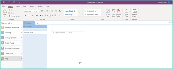 OneNote has Sections and Pages – just like a real notebook