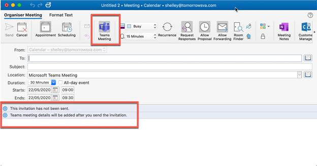 Microsoft Teams - create meeting