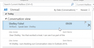 Clearned up conversation in outlook
